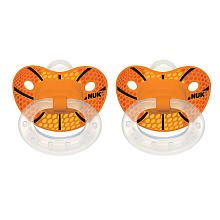 NUK Trendline Sports Orthodontic 18 - 36 Months Size 3 Silicone Pacifier 2 Pack - Basketball