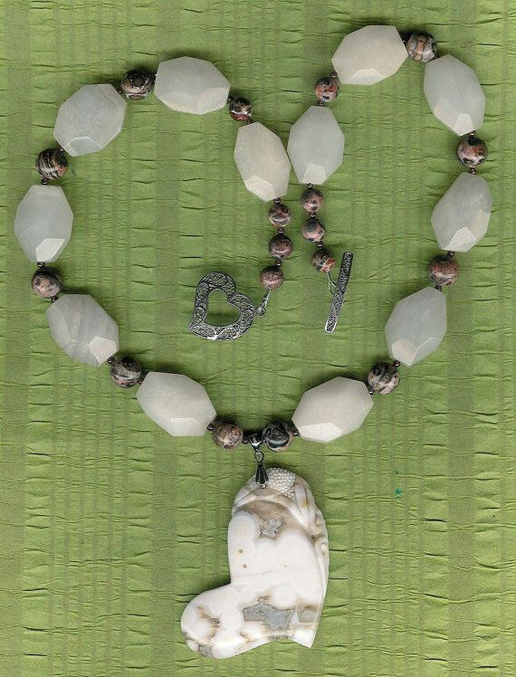 Pure Hearts  Ocean Jasper Heart Pendant White by ChicStatements