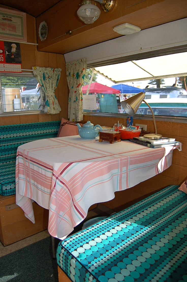 1965 Aloha Trailer  Cute Cushions And Curtains