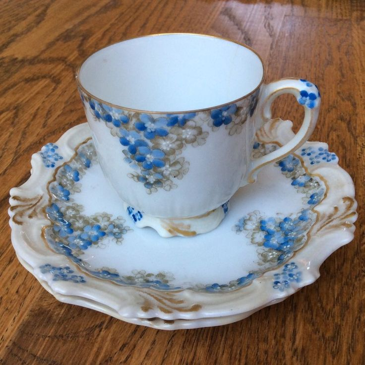 Vintage T&V Limoges Blue Floral Porcelain Tea/Coffee Cup and Two Saucers France #Limoges
