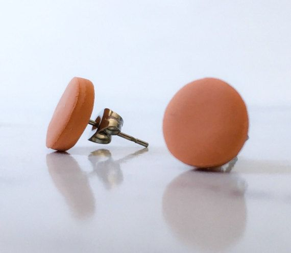 Terracotta orange polymer clay stud by FinchcreationsStore on Etsy