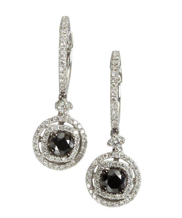 Armadani black and white diamond drop earrings