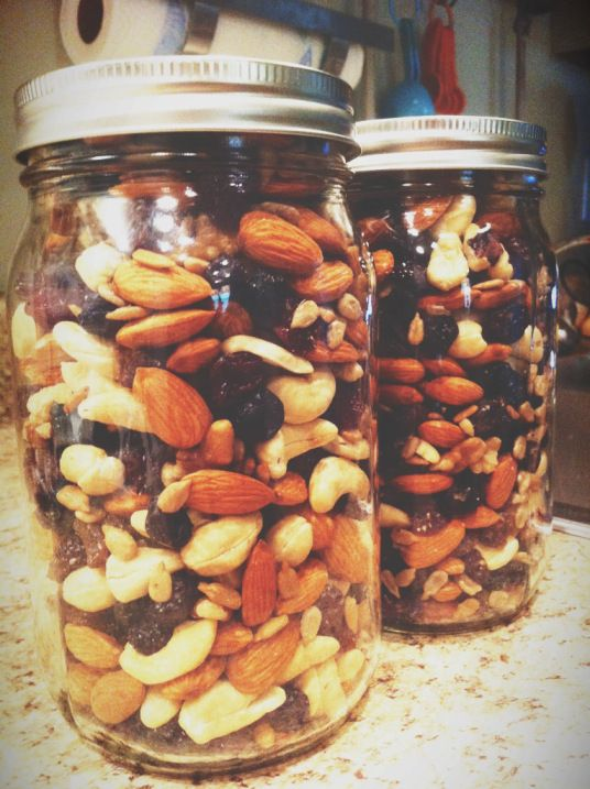 Paleo trail mix….cashews, walnuts, almonds, sunflower seeds, raisins, dried blueberries, and dried cherries