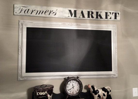 "EXTRA LARGE CHALKBOARD For Sale Baroque 56""x32"" Kitchen Chalkboard Long Narrow French Wedding Seating Chart Menu Board Huge White Framed"