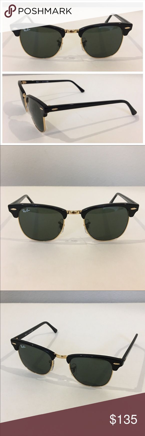 Authentic RAY BAN Clubmaster sunglasses Authentic RAY BAN Clubmaster sunglasses.  Model RB3016. Shiny black frames with gold tone trim and accents.  Marked with signature RB on lens and on eye pads, and inscribed with authenticity number on inner nose bri