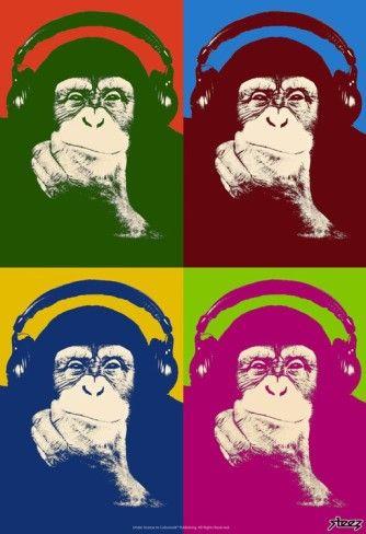 Monkey Pop Art - Steez Monkey Headphones Quad Pop-Art Prints at AllPosters.com