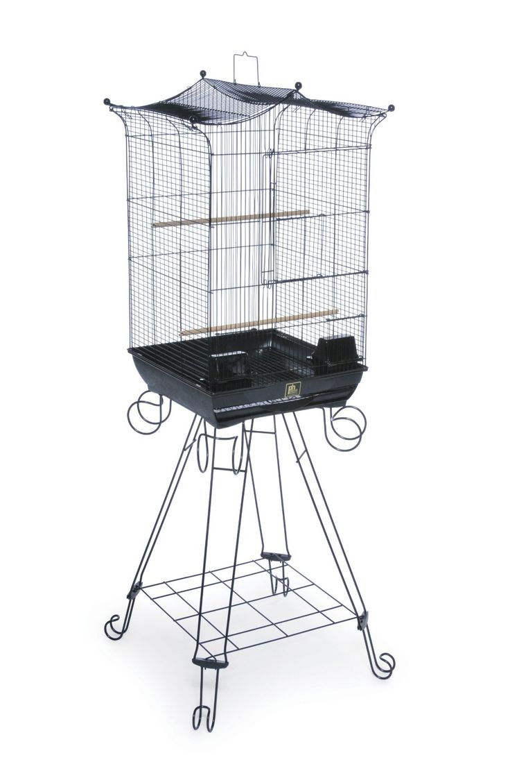 $57.13. The Bird Penthouse Suites Round Roof Aviary with Stand is a spacious and sleek home for your small to medium bird. Featuring an integrated floor stand with shelf, this bird aviary is securely supported while providing extra storage space. Included are two hooded plastic cups, two perches, a pull out bottom grille and removable drawer for easy cleaning. The unique large hinged front door contains a smaller door to control access into the aviary.