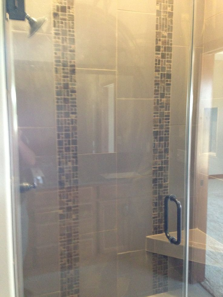 Custom tile shower with two vertical stone and glass tile for Bathroom tiles vertical or horizontal