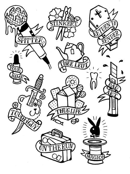 Tattoo Flash by Michiel van der Born haha modern take on the Sailor jerry flash RAD!