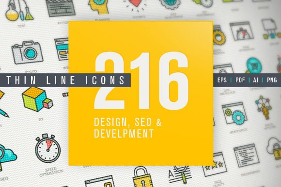 Thin Line Design & Development Icons by PureSolution on Creative Market