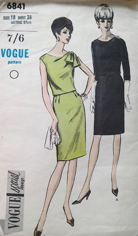 Vogue dress pattern 6841 special design bust 38 inches by Tigrisa