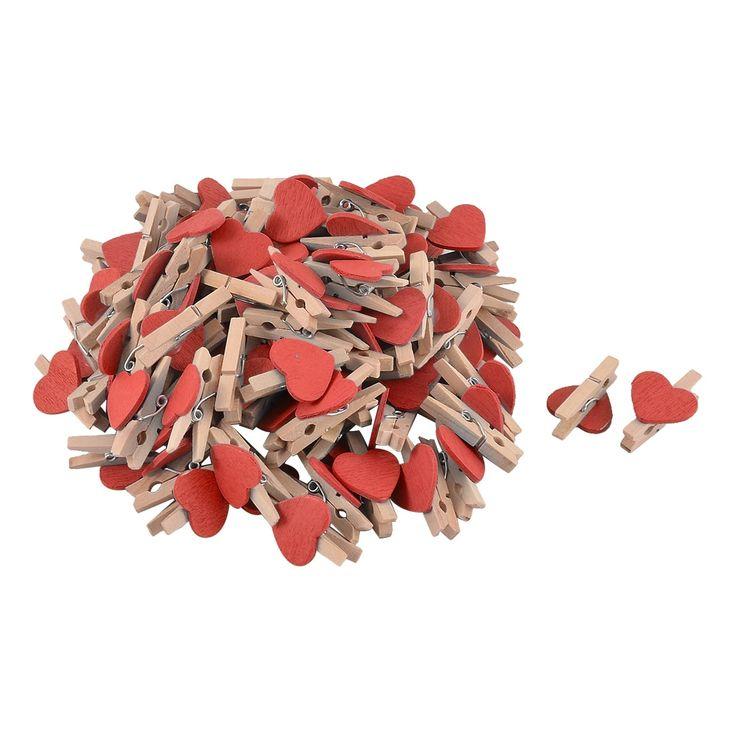 Unique Bargains Love Heart Weeding Card Photo Decoration Crafts Mini Wooden Clip Red 100pcs