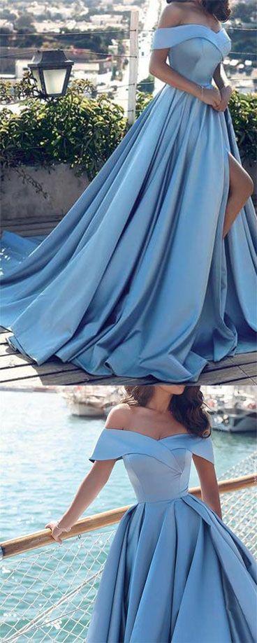 Blue Off-the-shoulder Ball Gown Split Princess Beach Quinceanera Dresses PM120