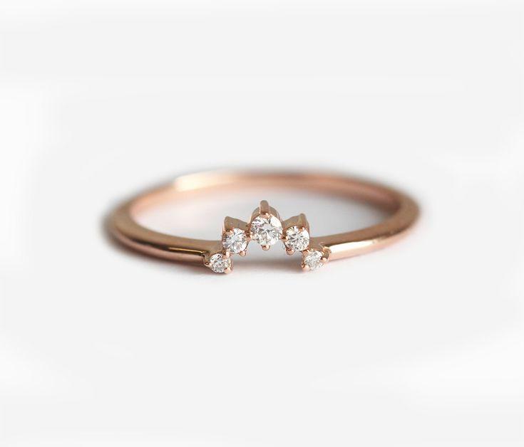 Crown diamantring bijpassende Diamond Band Diamond door MinimalVS