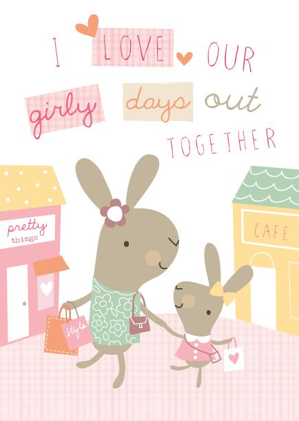 Días de mamá e hija , que linda ilustración <3