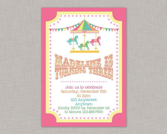 Carousel Invitation, Carousel Birthday Invitation, Carousel Party, Printable
