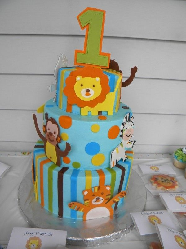 Blue Cake with Stripes & Dots in Orange, Yellow, Blue & Brown with Jungle Animals