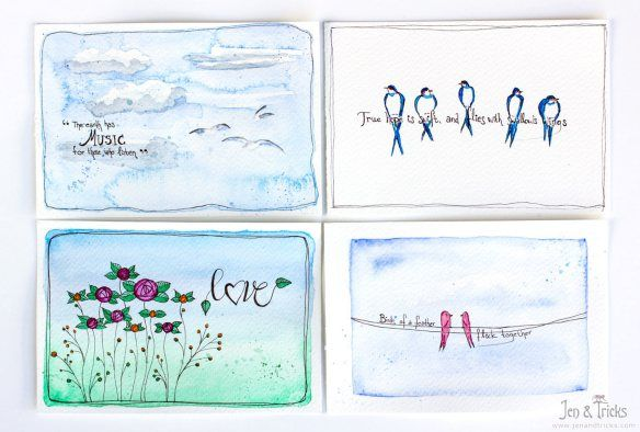 Four simlpe, handpainted postcards in watercolour, ready to be mailed! Things I put in my crafty travel kit - http://jenandtricks.com