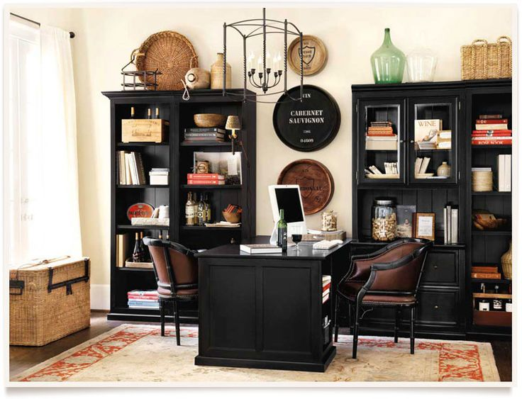 Marena Home Office design. Love the Cabernet Savignon tray on the wall.