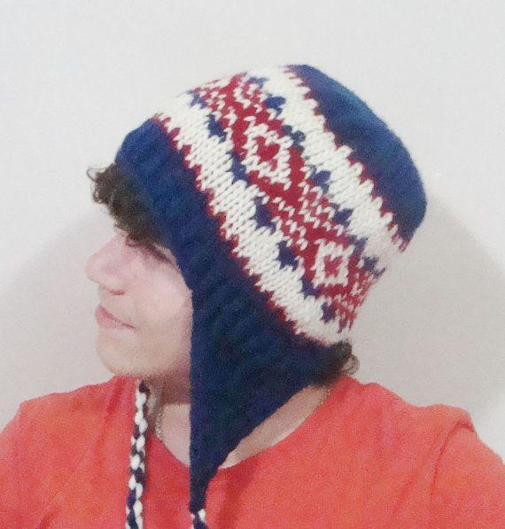 Hand Knit Hat Wool Men Hat Beanie men hat Ear Flap by earflaphats, $39.99