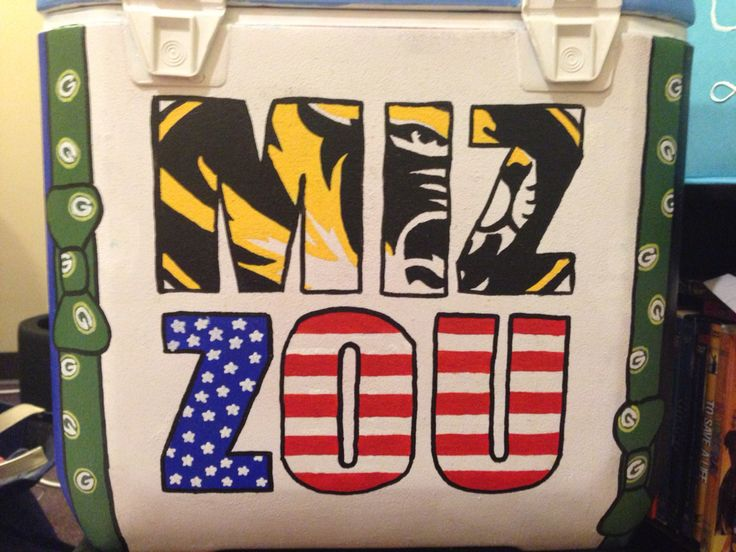 cooler I made for acacias formal at mizzou :) Mizzou logo and American flag