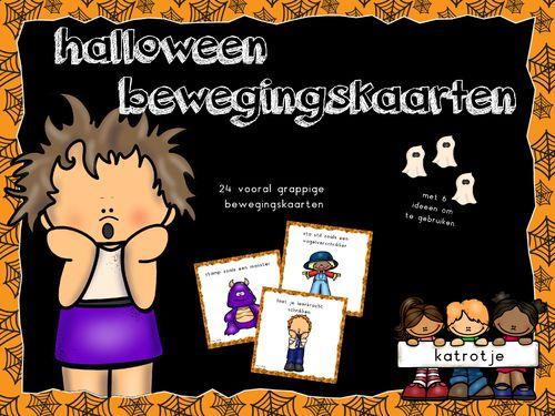 katrotje bewegingskaarten rond halloween. Speelse en grappige kaarten die zorgen voor een leuke halloween in de kleuterklas of thuis.