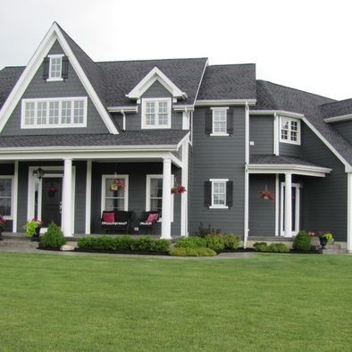 25 best ideas about gray exterior houses on pinterest home exterior colors exterior colors - Dark grey exterior house paint concept ...