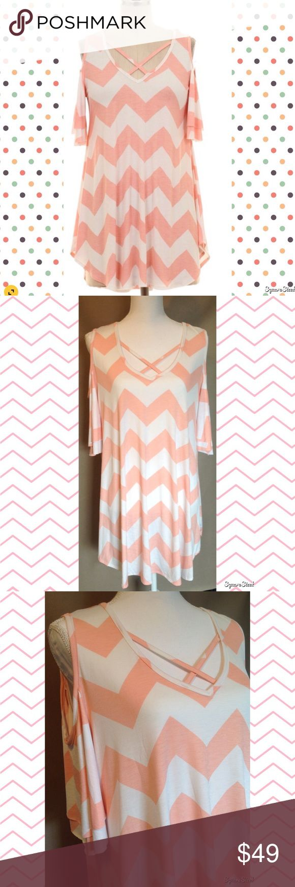 Cold Shoulder Chevron Tunic Top 🌸 Wear this adorable Chevron top when going out on a date, hanging with friends, house parties and girls night. 1X,2X,3X. 92% Polyester and 8% Spandex. Tops Tunics