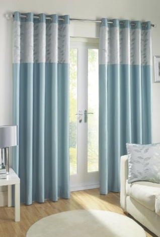 Sienna Duck Egg Lined Eyelet Curtains