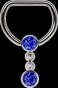 Piercing Schmuck Shop  D-Brustpiercing Ring Titan mit Kette und 5 mm Stein Kugeln in verschiedenen Farben