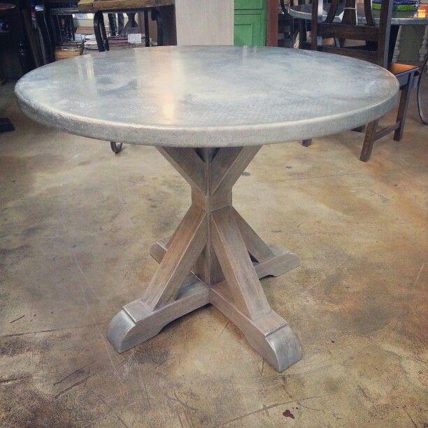 zinc farmhouse round table  zinc table kitchen table