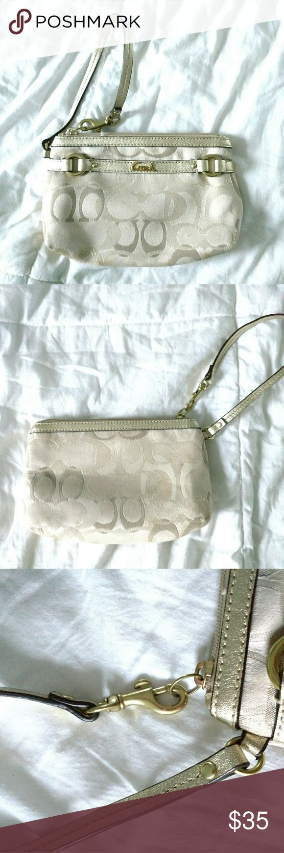 Authentic Coach Clutch Authentic Coach clutch in excellent condition. No frays, tears, or stains. Inside is a lavender color with small inner pocket. Coach Bags Clutches & Wristlets