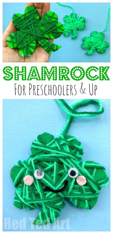 Yarn Wrapped Shamrock Craft For Preschoolers St Patricks Day