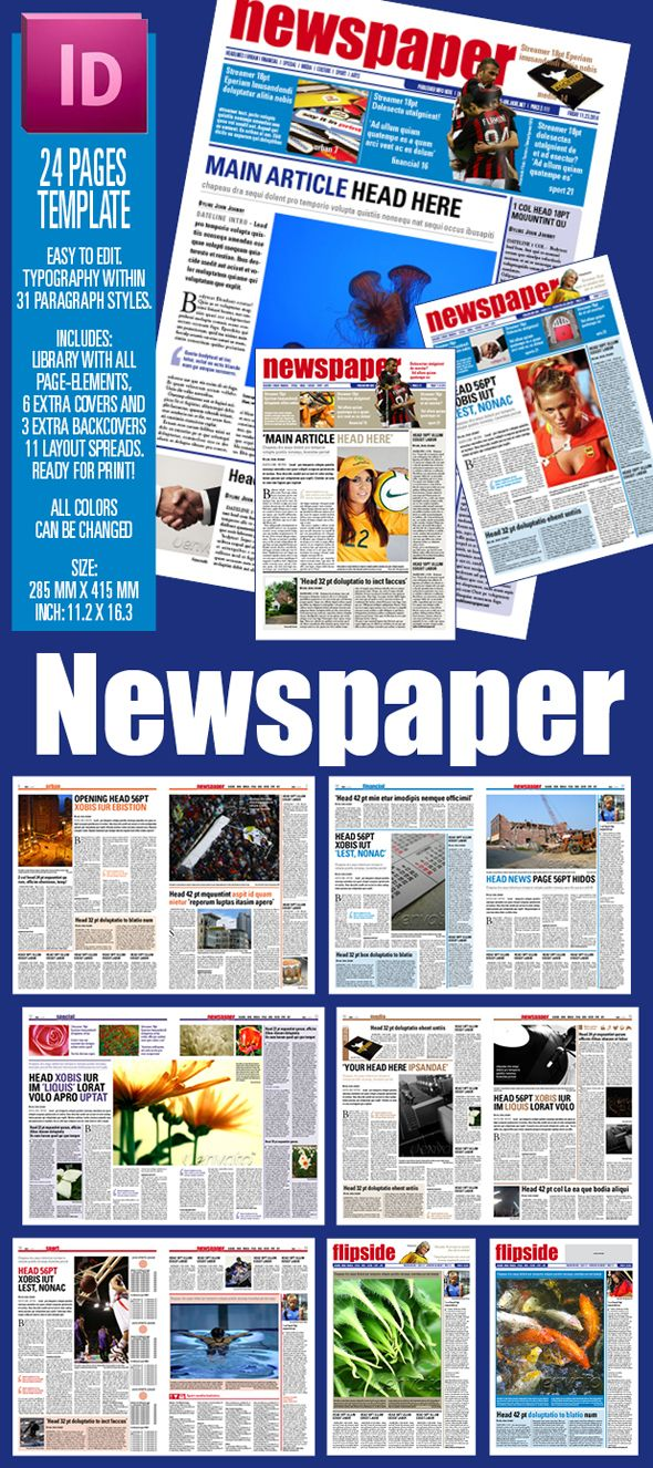 The 25+ best Indesign newspaper template ideas on Pinterest - newspaper headline template