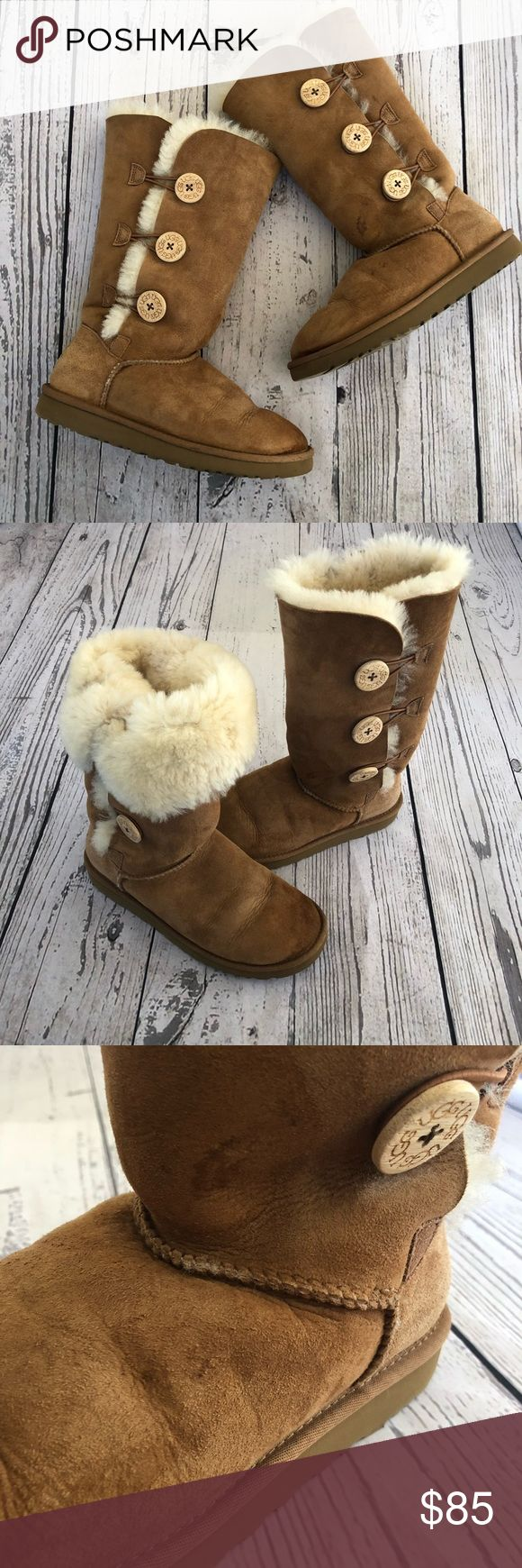 UGG Button Up Boots/ Sheep Skin Cleaning Kit Preowned in great condition  Minor flaws include: front toes of boots and a small spot on the left boot (shown in photos above) Size: 7 USA Also included is the sheep skin care kit. Only used a few times. UGG Shoes