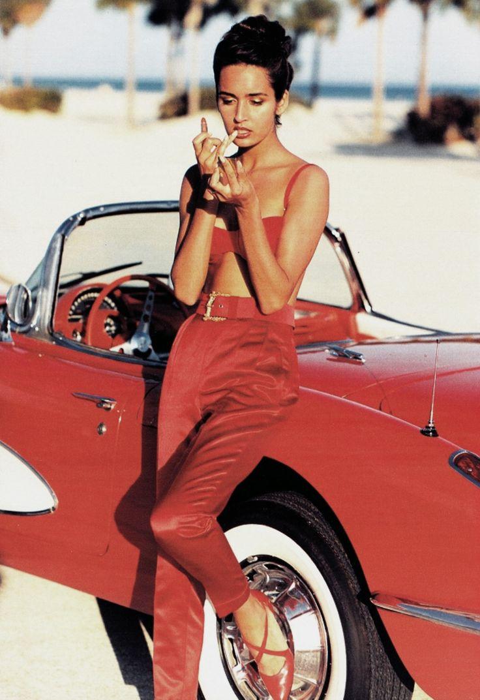 "80s-90s-supermodels: "" ""In Rosso"", Marie Claire Italia, March 1990 Photographer: Eamonn J. McCabe Model: Gail Elliott """