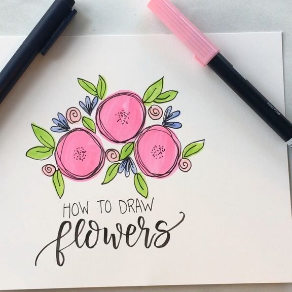 How to Draw Flowers #MothersDay #lettering #HandLettering #Michaels