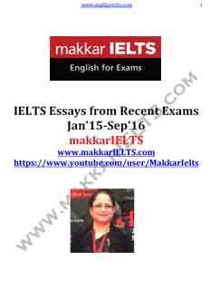 Download Makkar IELTS Essays from Recent Exams eBook PDF