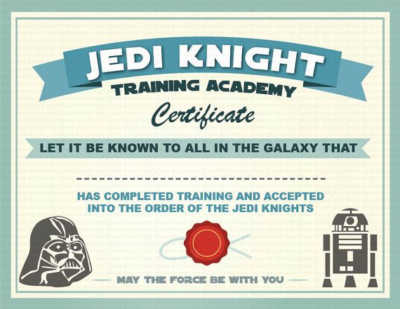 INSTANT DL- Jedi Knight Certificate- Star Wars Birthday Party -Printable (not personalized)