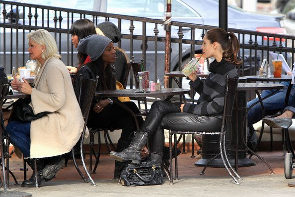 """British beauty Kelly Brook wears less than flattering leather pants whilst out and about in Beverly Hills. The """"Piranha 3-D"""" actress who used to date Jason Statham and Billy Zane. and her gal pal went shopping before stopping at the Urth Caffe for a bite to eat."""