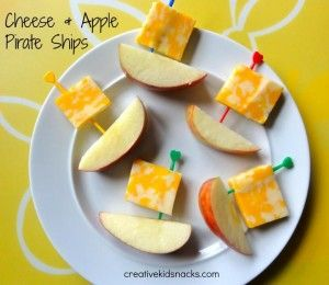 Cheese and apple pirate ships