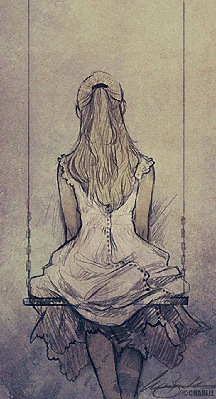 Charlie Bowater, back of young woman seated n swing, sketch. charliebowater.co.uk