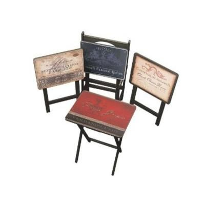 Cape Craftsman Tuscan Wine TV Tray with Stand in Multi Color (Set of 4)-3TV011257 - The Home Depot