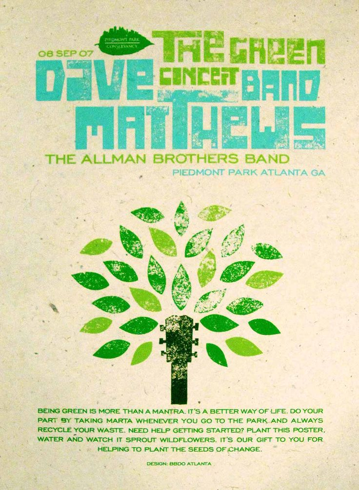 Green Concert Poster : : Piedmont Park Conservancy event promoting green living. Screenprinted on seed paper. By Dac Austin.