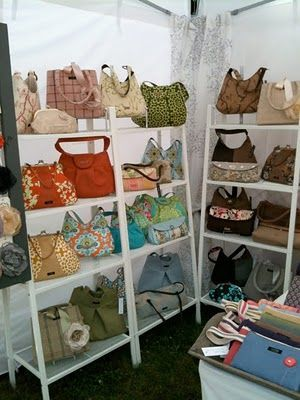 Shelving to display purses in a craft fair booth instead of a table