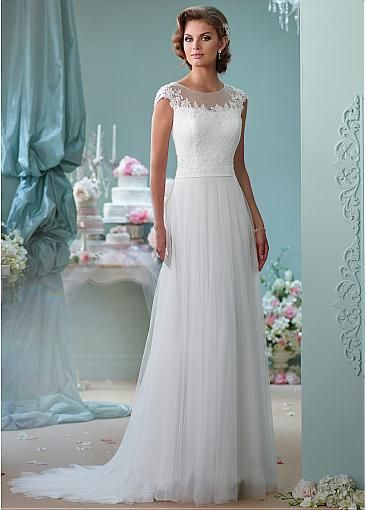 Elegant Tulle Jewel Neckline A-lline Wedding Dresses with Beaded Lace Appliques