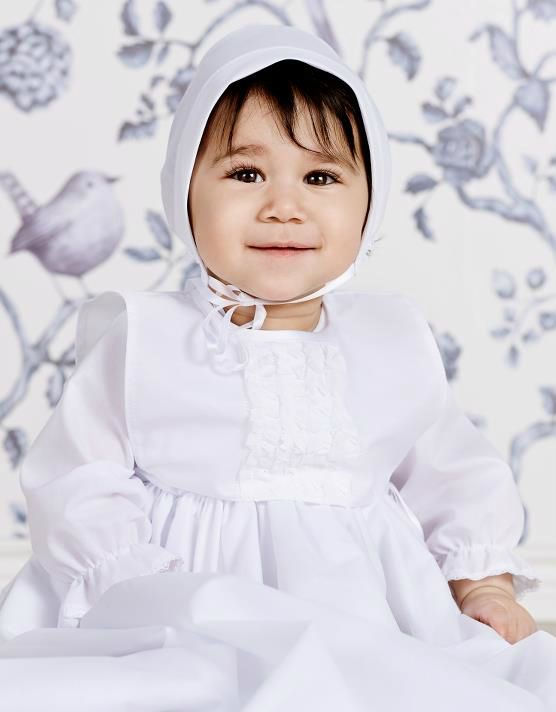 Enkel dåpskjole i bomull 6052 - ABELONE.NO