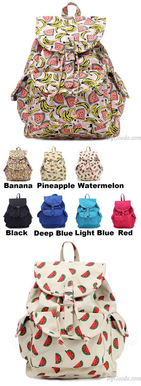 Fresh Fruits Printing Banana Pineapple Watermelon School Girl's Canvas Backpack for big sale! #banana #canvas #fruits #fresh #pineapple #backpack #Bag #school