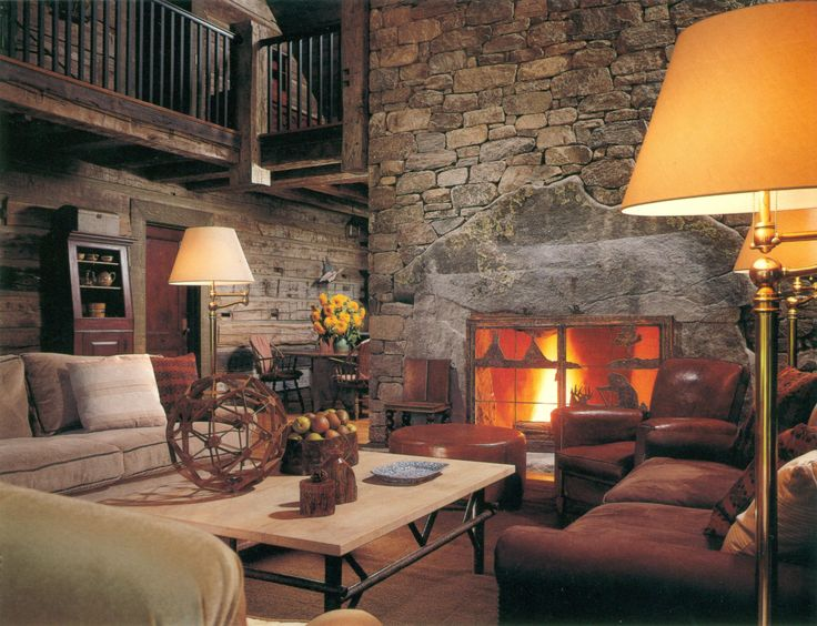giant fieldstone fireplace | 2354 best Lake and Cabin Interior Ideas images on ...