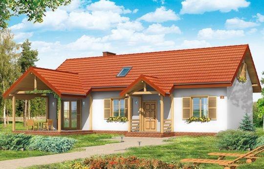 Szczygieł to projekt domu jednorodzinnego parterowego, z poddaszem użytkowym. Dom Szczygieł może służyć jako dom jednorodzinny całoroczny, jak również jako budynek letniskowy. Prostokątna bryła została przekryta dwuspadowym dachem poddasza. Do niej dobudowano podcień ogrodowy - z wyjściem z salonu, oraz podcień - ganek wejściowy.